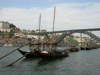 Rabelo boats characteristic of the river Douro